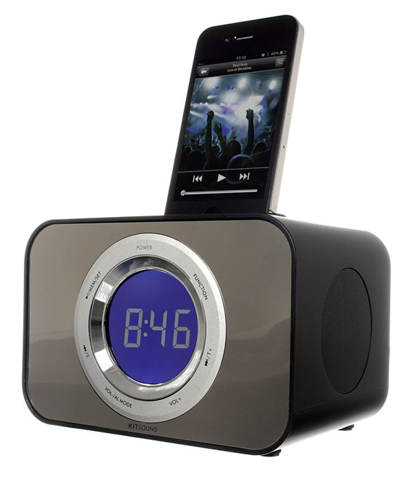 KitSound Clock Radio Dock for iPhone 3G, 3GS, 4, 4S, iPod Nano